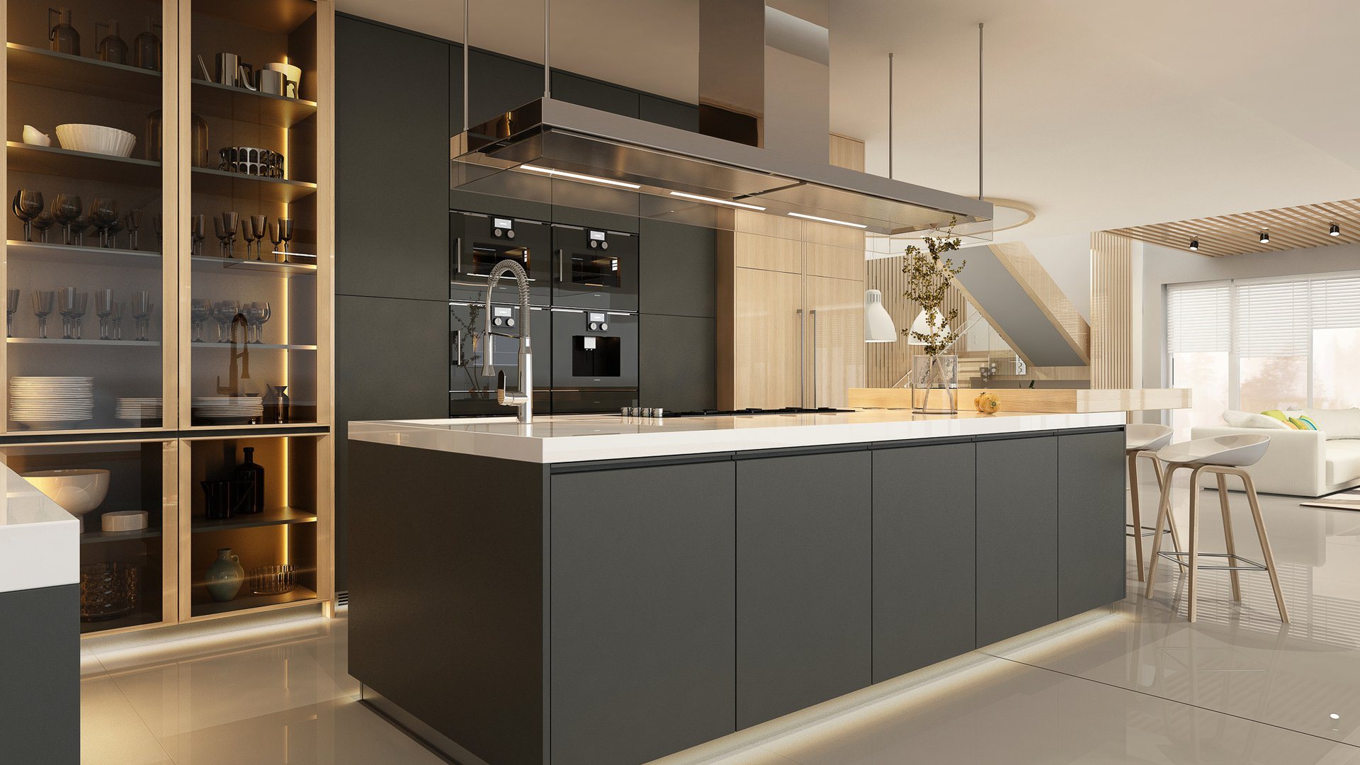 Contemporary Kitchen Style with grey cabinets.jpg