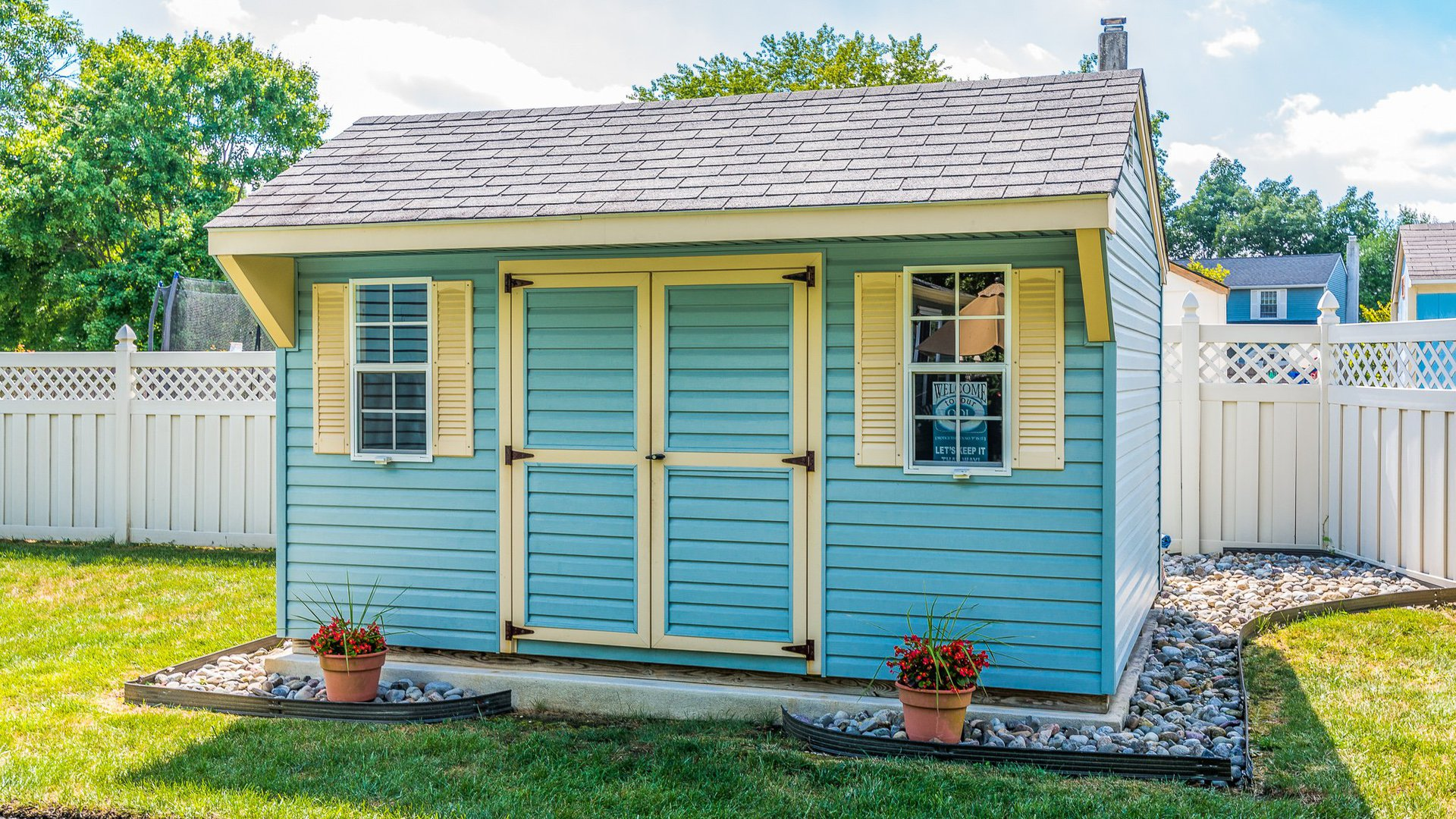Blue Shed packages with shutters and double doors